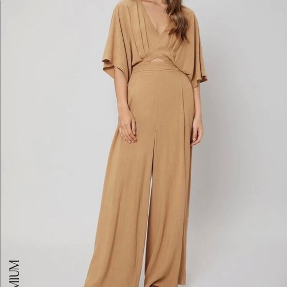 SHEIN Motif Linen Batwing Sleeve Jumpsuit Brown